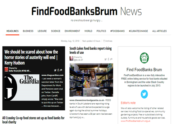 FindFoodBankBrum News